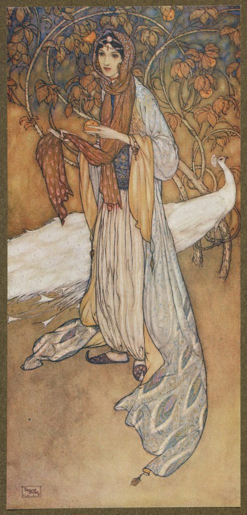 Drawing of Scheherazadè, the heroine of the Thousand and One Nights
