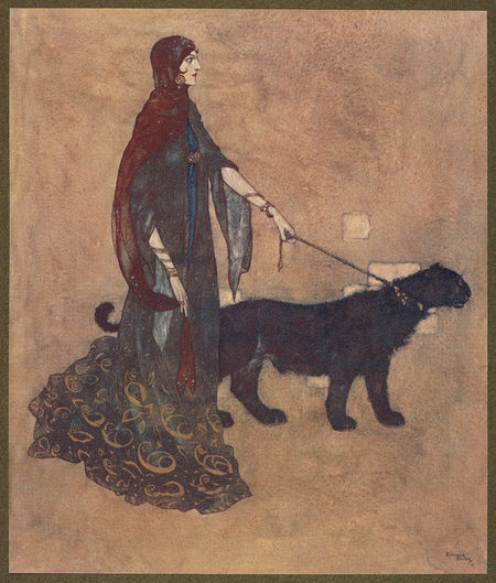 Drawing of the The Queen of the Ebony Isles with her black dog