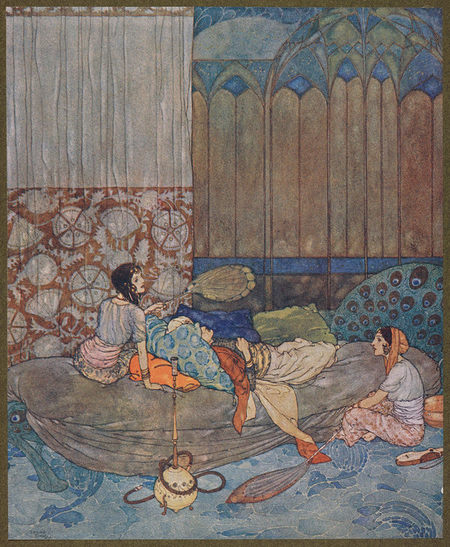 Drawing of king lying on a couch while two women fan him