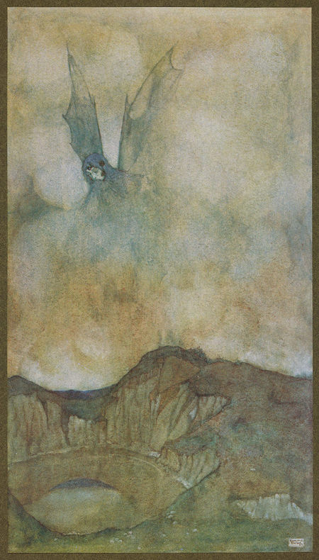 Drawing of woman in the clouds with bat wings and a lake in a mountainous valley
