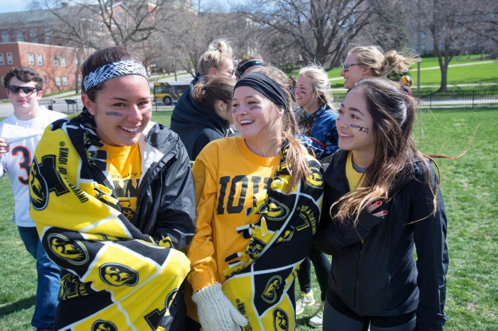 Group of students in hawkeye gear